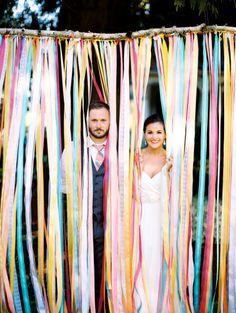 Colorful ribbon backdrop: http://www.stylemepretty.com/2014/12/04/colorful-farm-wedding-in-portland-oregon/ | Photography: Ann-Kathrin Koch - http://www.annkathrinkoch.com/