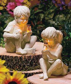 Kids with Solar Fireflies