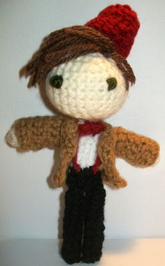 BBC Doctor Who's 11th Doctor Crochet Doll by PaintsAndNeedles  ||  Geronimo!  Eleven comes with a fez!  Fezzes are cool.  ;)