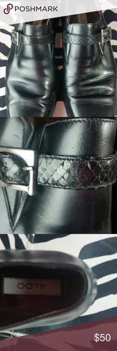 Aldo Loafer with Snake Skin Accent Gorgeous Aldo loafer with snake skin strap and silver buckle.  Lightly worn. A funky piece for any man's wardrobe. Shoes Loafers & Slip-Ons