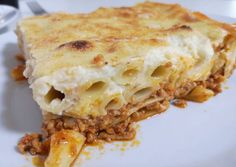 Pasticcio Moussaka Recipe, Meat Seasoning, Sliced Potatoes, Tomato Paste, Penne, Casserole Dishes, Stuffed Peppers, Cooking, Ethnic Recipes