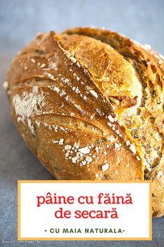 Pâine cu făină de secară și semințe dospită cu maia naturală. O pâine 100% naturală și sănătoasă, cu coajă rumenă și crocantă și miez dens. Cum se dospește aluatul cu maia naturală, ce semințe folosim la pâine, câtă făină de secară se folosește, cum se coace pâinea cu maia. #retetesimple #reteteculinare #retetesanatoase #reteterapide #bucatearomate #reteteromanesti #paine #painedecasa #painecumaia #maianaturala #maiasalbatica #sourdough #levain Gluten, Bread, Food, Home, Brot, Essen, Baking, Meals, Breads