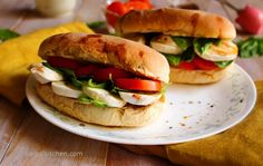 The Tomato, Mozzarella & Basil Sandwich is super simple and quick. Fresh mozzarella, juicy tomatoes, and be generous with cheese :) Caprese Sandwich Recipe, Sandwich Recipes, Cookbook Recipes, Cooking Recipes, Ciabatta Roll, Cold Sandwiches, Food To Go, Plum Tomatoes, Fresh Mozzarella