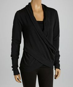 Love this Black Surplice Top by American Buddha by Yogi on #zulily! #zulilyfinds