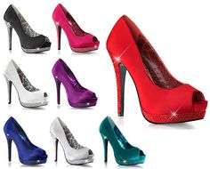 New HOT Holiday Heels from BORDELLO! Now in stock in 8 fashionable holiday colors! BELLA-12R features a semi concealed platform with rhinestone heel and platform, a 5 1/4 inch heel with 1 1/2 inch platform creating a comfortable rise of only 3 3/4 inches. Dance your holiday party away in these beautiful satin pumps and seduce your footsies all over again!  BELLA-12R Peep Toe Rhinestone Satin Pump in US Women's Sizes 5 - 12.