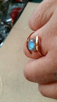 Copper with labradorite wire wrapped ring