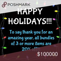HAPPY HOLIDAYS!!! All bundles of 3 or more items are now 20% off (DOUBLE the usual discount!!)  2 items will be 10% off. Dresses