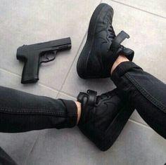 black, nike, and gun image