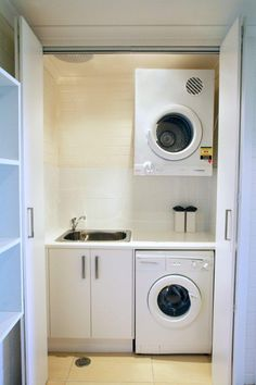 Hideaway Laundry Small Laundry, Laundry Rooms, Reno Ideas, Stacked Washer Dryer, Farm House, Washing Machine, House Ideas, Home Appliances, Yard