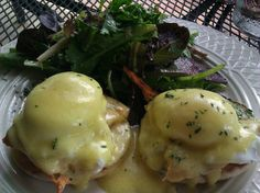 Salmon Benedict with Field Greens