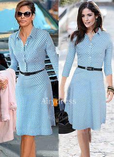 Dress - $15.67 - Cotton Polyester Polka Dot 3/4 Sleeves Knee-Length Elegant Dresses (1955124700)