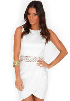 Malila Tulip Dress With Sequin Waistband In Cream