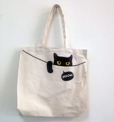 Projects for college, Peeping Cat Tote Bag - superB studio - Handbags & Totes Sacs Tote Bags, Canvas Tote Bags, Women's Bags, Bag Sewing, Cat Bag, Denim Bag, Fabric Bags, Cloth Bags, Tote Handbags