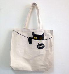 Projects for college, Peeping Cat Tote Bag - superB studio - Handbags & Totes Sacs Tote Bags, Diy Tote Bag, Canvas Tote Bags, Women's Bags, Sacs Design, Cat Bag, Denim Bag, Fabric Bags, Cloth Bags