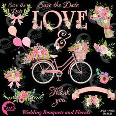 Wedding clipart, Bicycle clipart, Bicycle and Flowers clipart, Vintage Bicycle, Save the Date, Wedding Bouquet clipart, AMB-1325