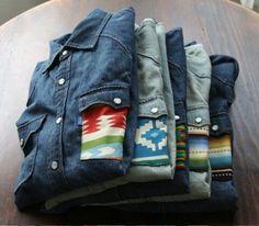 Subtle aztec / navajo prints on a denim shirt. Mode Country, Look Fashion, Mens Fashion, Fashion Shirts, Denim Vintage, Der Gentleman, Le Polo, Mode Style, Western Wear