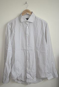 Vintage Style Zara Man Mens Long Shirt Size XL 100% Cotton Stylish White Striped