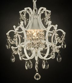 WROUGHT IRON CRYSTAL CHANDELIER LIGHTING COUNTRY FRENCH WHITE
