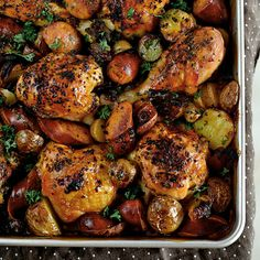 Spanish Chicken with Chorizo and Potatoes, a tray of citrusy roast you can put together with one eye closed.
