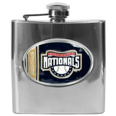 MLB Washington Nationals 6oz Stainless Steel Flask by Great American Products. $29.99. Handcrafted  high-quality metal logo. Proudly displays hand-crafted metal emblem featuring the Team Logo.. High quality collectible design. Officially Licensed flask decorated in team colors.