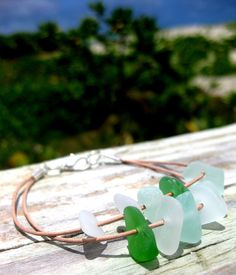 Hawaiian Emerald Green, Aqua Blue, and Clear Beach Glass on India Leather Cord, completely adjustable, Bracelet. Handmade with Aloha!! $42.00
