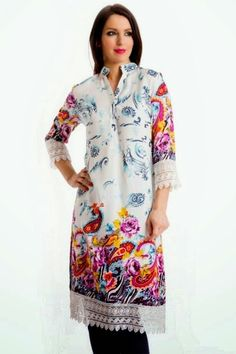 Latest Kurti Collection 2014 for Eid | Long Kurti with Jeans for Eid