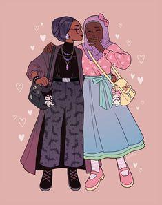 eunnieboo: goth gf x pastel gf - Ar lasa mala revas, ma vhenan Lesbian Art, Gay Art, Cartoon Kunst, Cartoon Art, Black Girl Art, Art Girl, Arte Sketchbook, Cute Gay, Pretty Art