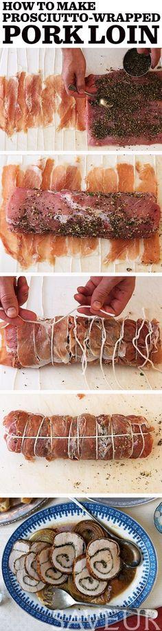Um, lombo de porco envoltos-prosciutto recheado de ervas é a, entree fácil elegante perfeito.  por Ritari