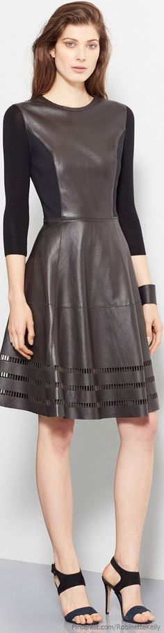 Leather and ??  fabric .... love this !    Elie Tahari | Pre S/S 2014