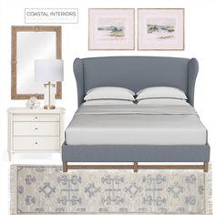 Sophisticated Bedroom Design by Anneke Coastal Interiors New Bedroom Design, Decor Interior Design, Interior Decorating, Sophisticated Bedroom, Wingback Bed, White Bedding, Decor Styles, Master Bedroom, Instagram Design