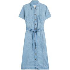 Current/Elliott Belted Denim Shirt Dress (4.425 ARS) ❤ liked on Polyvore featuring dresses, blue, long shirt dress, t-shirt dresses, high-low dresses, denim dress and blue shirt dress