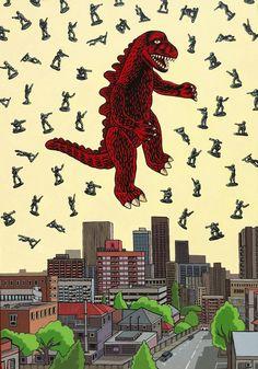 Gojira over Braamfontein - Daniël du Plessis - Comics, Illustration and Fine Art South African Art, Comic Artist, Graphic Design, Fine Art, Comics, Illustration, Animals, Animales, Animaux