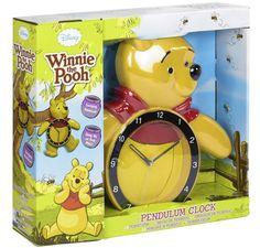 Winnie The Pooh Clock Swinging Pendulum Action Disney Childs Clock New Boxed