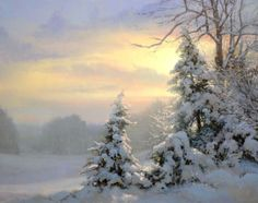 Winter sunset scene - Artist Michael Godfrey Paintings, Prints, Artwork for Sale, Biography New Masters Gallery Love the negative space/low sunlight through the trees! Painting Snow, Winter Painting, Winter Art, Watercolor Landscape, Landscape Art, Landscape Paintings, Watercolor Paintings, Tree Paintings, Watercolour