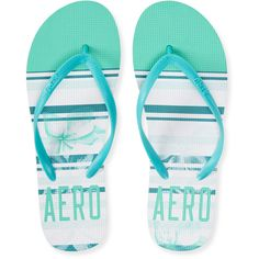 Striped Aero Flip-Flop ($4) ❤ liked on Polyvore featuring shoes, sandals, flip flops, chaussure, embellished sandals, aeropostale shoes, aeropostale sandals, slip on shoes and embellished shoes