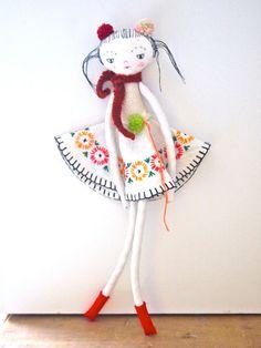 Little Oshi doll cloth art doll heirloom by JessQuinnSmallArt
