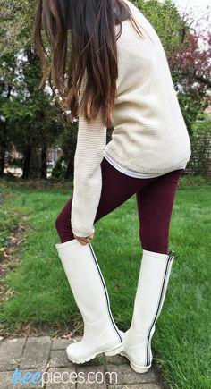 Henri BendelHigh Top Cream Wellies [SIMILAR]| sz 6• Arizona Maroon Leggings| sz S•Pink Rose Knit Sweater[SIMILAR] | sz XS, 40% off!• Forever 21 Scoop Neck Cami| sz XS Today is the first d…