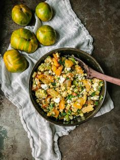 Savor summer's best with this simple-to-make (and flexible) tomato and corn salad; a true celebration of the season! Stock up at the farmer's market! Ears Of Corn, White Wine Vinegar, Corn Salads, Fresh Green, Fresh Herbs, Paella, Farmers Market, Feta, Celebration