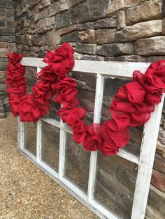 Red Burlap Garland, Fall Garland, Christmas Garland, Holiday Garland, Shabby Chic Garland, Wedding Garland