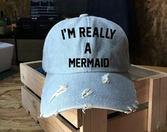 Baseball Cap Mermaid off duty cap Denim Cap Jean by ArtesaniaTh