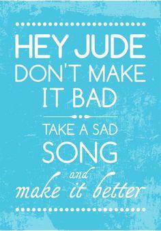 Beatles Song Music HEY JUDE Poster Art print by PeanutoakPrint