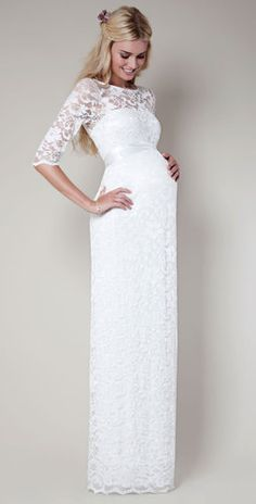 Amelia Lace Maternity Dress Long (Ivory) by Tiffany Rose. Looks like a shotgun wedding gown but but xD I want iit Backless Lace Wedding Dress, Wedding Dresses Uk, Wedding Dresses With Straps, Amazing Wedding Dress, Wedding Dress Sleeves, Bridal Dresses, Maternity Wedding Dresses, Maternity Maxi, White Lace Maternity Dress