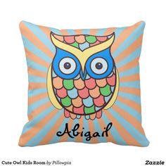 Cute Owl Kids Room Throw Pillow