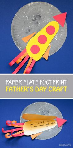 """Paper plate footprint Father's Day craft for kids. """"Dad, I love you to the moon and back"""". Easy craft for toddlers, preschoolers and older kids #FathersDay #FathersDayCraft #footprint"""