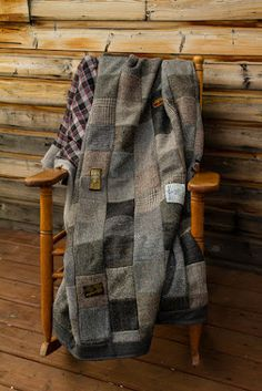Hand made recyled wool coats quilt blanket by FishGirlStudio More