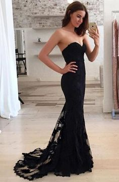 Black sweetheart neck lace train long prom dress, black evening dress