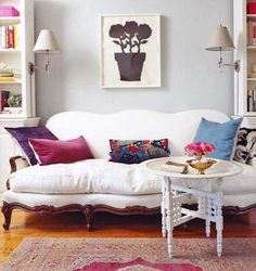 pillows and white vintage couch