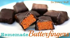 Homemade Butterfingers Candy Bars- only three ingredients and they taste almost identical! SixSistersStuff.com #dessert #candybar
