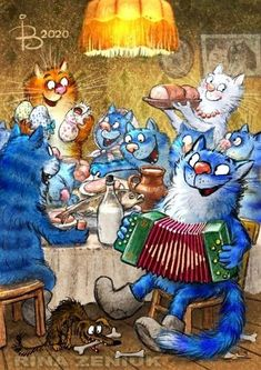 Irina S, Animal Action, Cute Animal Drawings, Blue Cats, Art Pages, Cat Art, Illustration, Cute Pictures, Kittens