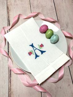 Easter Lily Monogram Linen Towel  Easter Monogram by BoxofBobbins